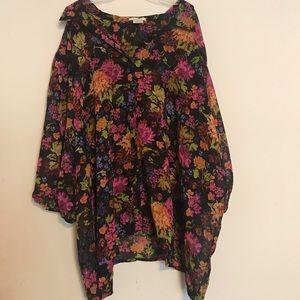 Roaman's Sheer Floral Tunic